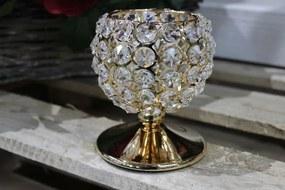 Zlatý luxusný svietnik so skleneným zdobením 12cm
