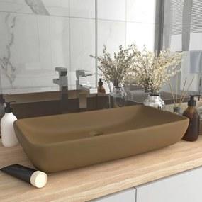 vidaXL Luxusné umývadlo, obdĺžnik, matné krémové 71x38 cm, keramika