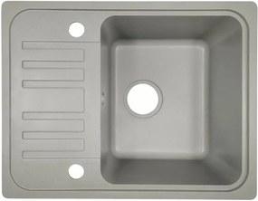 Granitový drez s odkvapkávačom, sivý, 32 x 19 x 39 cm