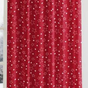 Goldea vianočný bavlnený záves - vzor strieborné hviezdičky na červenom 140x140 cm