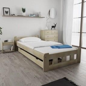 Maxi Drew Posteľ Naomi zvýšená 120 x 200 cm, borovica Rošt: s latkovým roštom, Matrac: s matracom Economy 10 cm