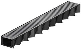 ACO HexaSelf žľab 1 m plastový, čierny, pozinkovaný rošt 319213