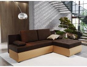 Rohová rozkladacia sedačka BORIS 1 - hnedá / béžová