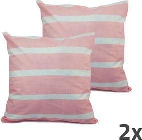 Home Elements Povlak na vankúš, ružová, biele prúžky, sada 2 ks