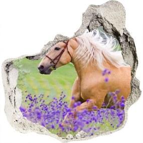 Diera 3D fototapety Kôň na poli levandule WallHole-75x75-piask-84450910