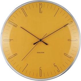 KARLSSON Nástenné hodiny Dragonfly Dome Glass žltá