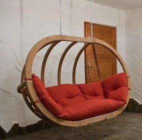 Závesné drevené kreslo LIONEL 2 bez stojanu Farba podušky: Červená