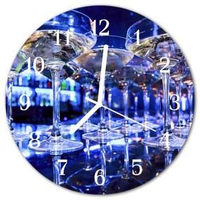 Nástenné sklenené hodiny Sklenená lampa fi 30 cm
