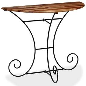 vidaXL Konzolový stolík 90x45x75 cm sheeshamový masív polkruhový