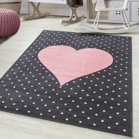 DomTextilu Luxusný sivý koberec do detskej izby ružové srdce 42012-197371