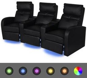 vidaXL Sklápacie 3-miestne kreslo s LED osvetlením, umelá koža, čierne