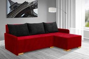 Nabytekmorava Lacná rozkládacia sedacia súprava Marion farba korpusu: červená 46, farba vankúšov: čierná 04