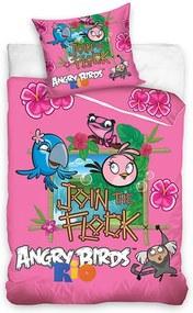 Carbotex Obliečky Angry Birds Rio ružová bavlna 140/200, 70/80cm