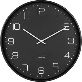 Čierne nástenné hodiny Karlsson Lofty, ø 40 cm