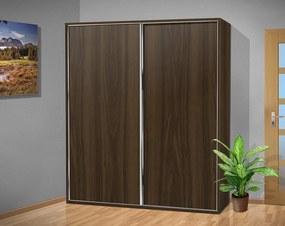 Nabytekmorava šatníková skriňa s posuvnými dverami Alfa 34 farba lamina: orech 729