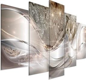 Obraz - Modern Dandelions (5 Parts) Beige Wide 225x100