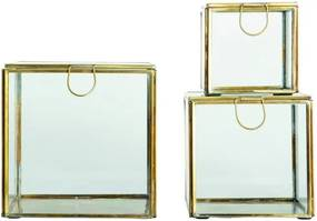 Sada 3 úložných boxov s rámom v mosadznej farbe House Doctor
