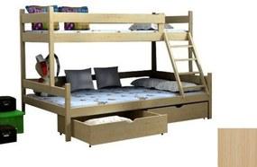 FA Petra 6 200x120x90 Poschodová posteľ s rozšíreným spodným lôžkom Farba: Prírodná