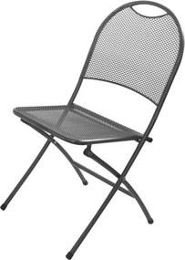 Záhradná kovová skladacia stolička - čierna