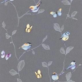 Vliesové tapety na stenu Natural Living 6498-15, rozměr 10,05 m x 0,53 cm, vtáky a motýle farební na sivých vetvách s lístkami, Erismann