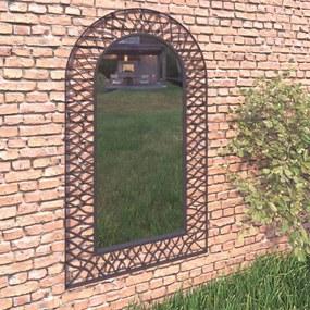 vidaXL Záhradné zrkadlo klenuté 60x110 cm čierne