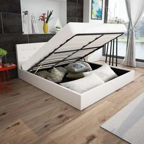 243364 Edco Rám postele s plynovým výklopným piestom, umelá koža, 160x200 cm, biela