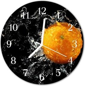 Nástenné sklenené hodiny  oranžový