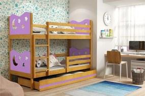 BMS Group Poschodová posteľ MIKO - pre dvoch so zásuvkou - JELŠA