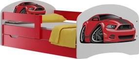 MAXMAX Detská posteľ so zásuvkami ČERVENÝ ŠPORTIAK 140x70 cm