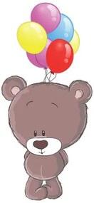 Nálepka na stenu pre deti Hnedý medvedík s balónikmi 10x10cm NK4258A_1HP