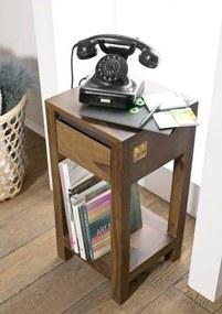 Bighome - ROUND Príručný stolík 30x30 cm, hnedá, palisander