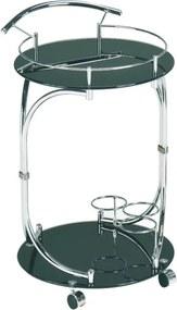 TEMPO KONDELA Vesna servírovací stolík na kolieskach čierna / chrómová