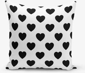 Čiernobiela obliečka na vaknúš s motívmi srdiečok Minimalist Cushion Covers, 45 × 45 cm