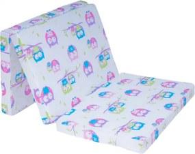 Detský skladací matrac do postieľky 10 Fialové Sovičky