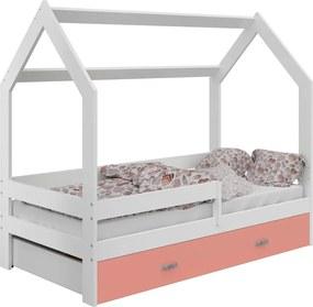 AMI nábytok Detská posteľ DOMČEK D3 80x160cm masív biela