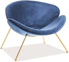 Modré relaxačné kreslo so zlatými nohami MAJOR VELVET