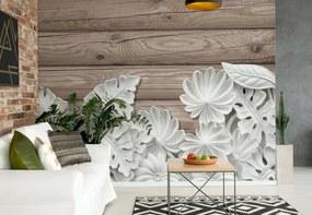 Fototapeta GLIX - Vintage Chic 3D Carved White Flowers Wood Plank + lepidlo ZADARMO Vliesová tapeta  - 250x104 cm