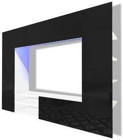 Čierne zábavné centrum/TV stena s vysokým leskom, LED, 169,2 cm