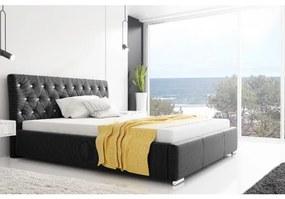 Dizajnové jednolôžko Adelaide s vysokým čelom a úložným priestorom čierna 140 x 200