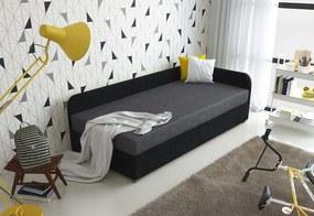 Čalúnená posteľ UNO + rošt + matrac, 90x200, Sawana05/14, pravý roh