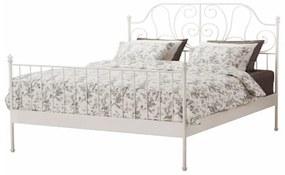 TEMPO KONDELA Behemoth 140 kovová manželská posteľ s roštom biela