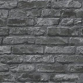 Papierové tapeta na stenu IL DECORO 95470-1, rozmer 10,05 m x 0,53 m, tehlová stena čierna, A.S.Création