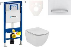 Závesný set WC TESI Rimless + modul Geberit Duofix Speciál s tlačidlom Sigma 50 (alpská biela) 111.355.00.5 NE8