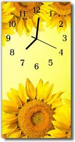 Sklenené hodiny vertikálne  Kvety Slnečnica žltá