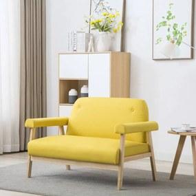 vidaXL 2-miestna pohovka s textilným čalúnením, žltá