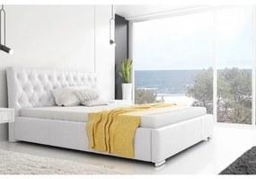 Dizajnové jednolôžko Adelaide s vysokým čelom a úložným priestorom biela eko koža 120 x 200