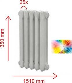 HOTHOT 25 článkov, 49 farieb, 350x1510 mm, Liatinový radiátor HH0239