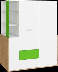 WIP Skriňa HEY-21 155 Farba: Dub artisan/biela/zelená