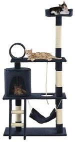 vidaXL Škrabadlo pre mačky so sisalovými stĺpikmi 140 cm tmavomodré
