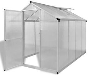 vidaXL Spevnený hliníkový skleník so základným rámom 4,6 m²